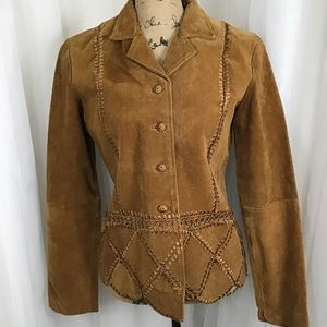 FIRM Neutral Zone suede leather crotchet jacket M